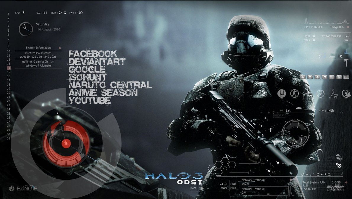 Halo_Rainmeter skin