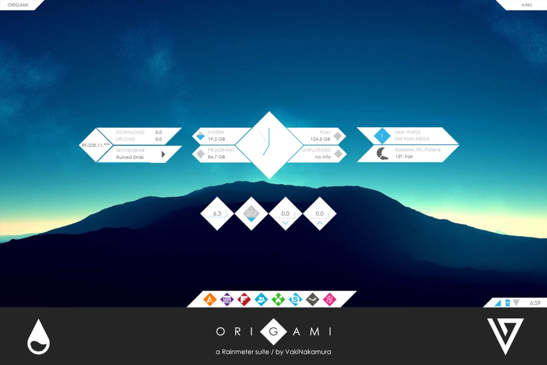 origami rainmeter skin